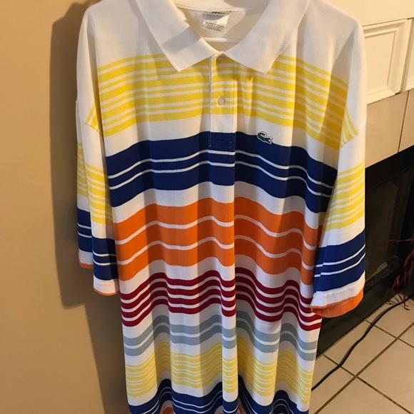 4844c26f80 Lacoste Shirts   Mens Polo Striped Shirt Size 12   Poshmark